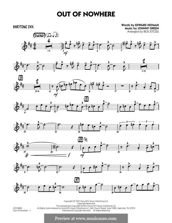 Out of Nowhere: Baritone Sax part by John W. Green