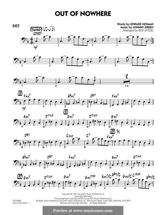 Out of Nowhere: Bass part by John W. Green
