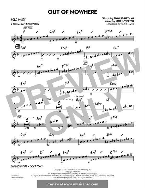 Out of Nowhere: C Solo Sheet part by John W. Green
