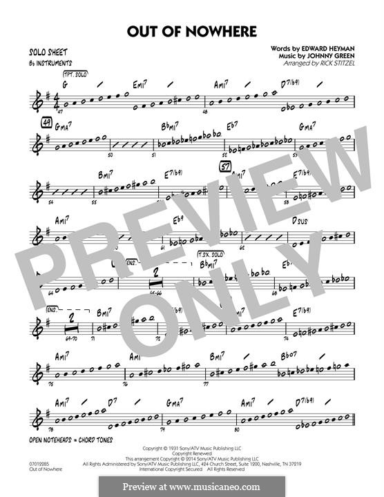 Out of Nowhere: Bb Solo Sheet part by John W. Green