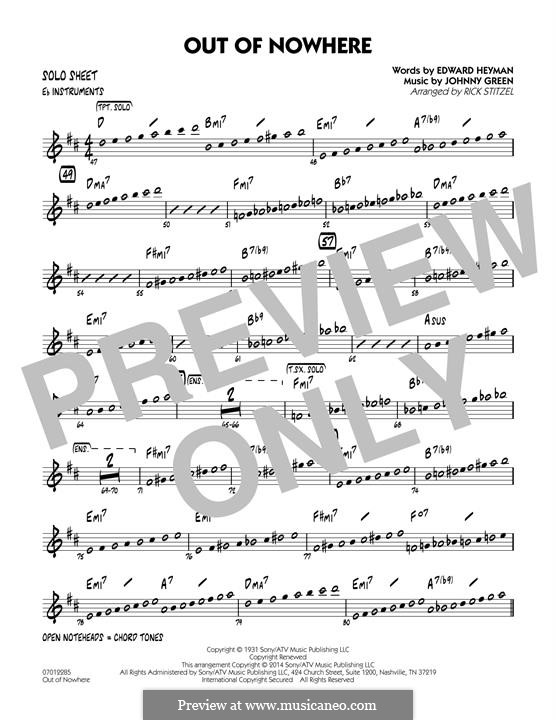 Out of Nowhere: Eb Solo Sheet part by John W. Green