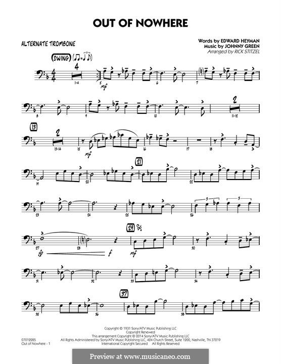 Out of Nowhere: Alternate Trombone part by John W. Green