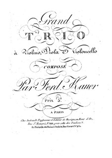String Trio in E Flat Major: Viola part by Ferdinand Kauer