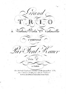 String Trio in E Flat Major: Cello part by Ferdinand Kauer