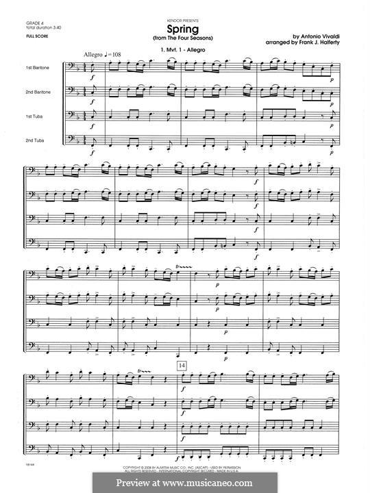 Violin Concerto No.1 in E Major 'La primavera' (Printable Scores): Movement 1 Allegro, for wind quartet – full score by Antonio Vivaldi