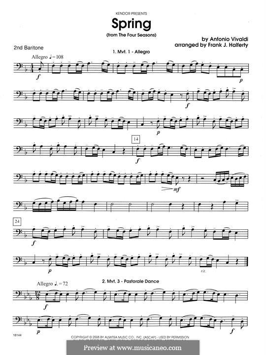 Violin Concerto No.1 in E Major 'La primavera' (Printable Scores): Movement 1 Allegro, for wind quartet – 2nd Baritone B.C. part by Antonio Vivaldi