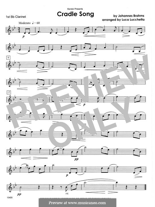 No.4 Cradle Song (Printable scores): For clarinets - 1st Bb Clarinet part by Johannes Brahms