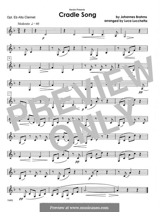 No.4 Cradle Song (Printable scores): For clarinets - Eb Alto Clarinet part by Johannes Brahms