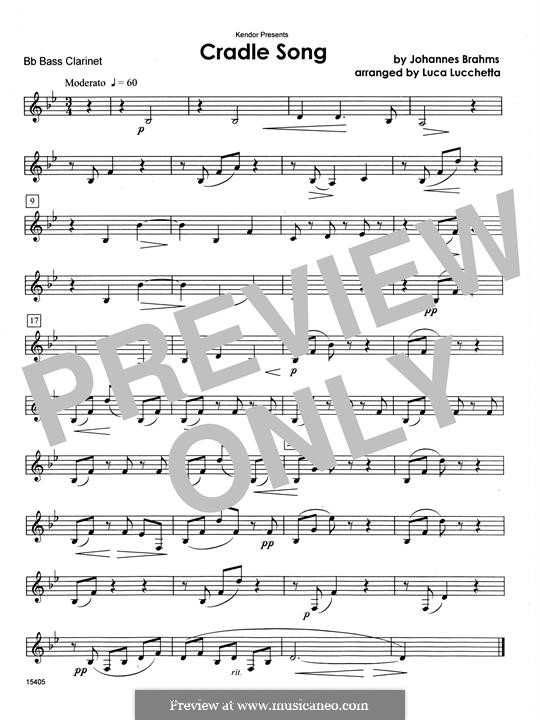 No.4 Cradle Song (Printable scores): For clarinets - Bb Bass Clarinet part by Johannes Brahms