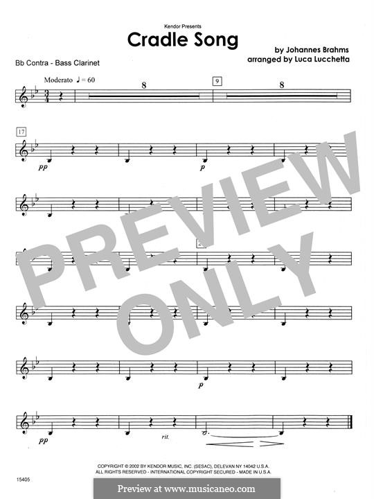 No.4 Cradle Song (Printable scores): Cradle Song - Bb Contra Bass Clarinet (Lucchetta) by Johannes Brahms