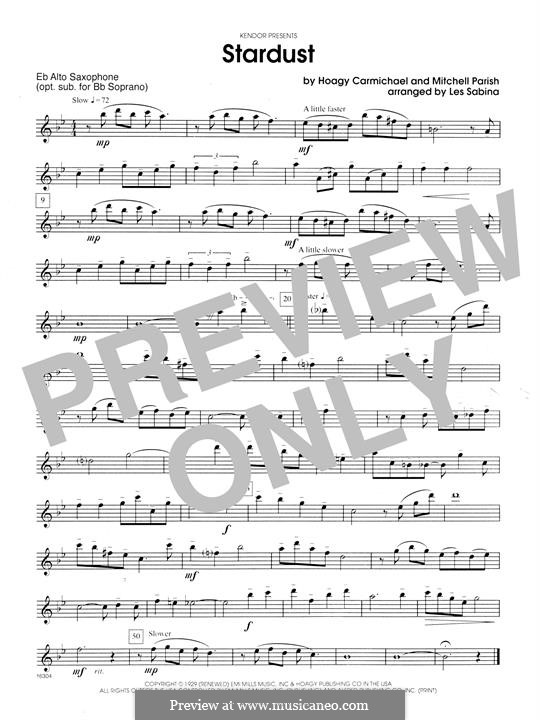 Stardust (Frank Sinatra): For saxophones - Opt. Alto Sax part by Hoagy Carmichael