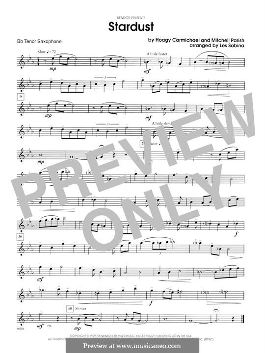 Stardust (Frank Sinatra): For saxophones - Bb Tenor Saxophone part by Hoagy Carmichael