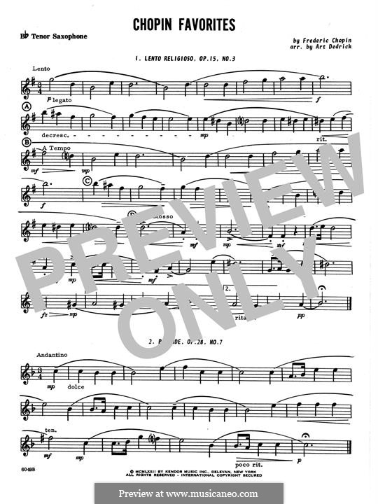 Chopin Favorites: Bb Tenor Saxophone part by Frédéric Chopin