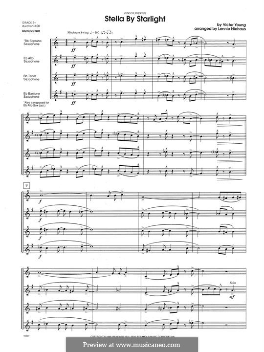 Stella By Starlight: For saxophones - full score by Victor Young