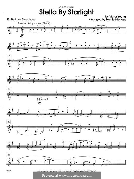 Stella By Starlight: For saxophones - Eb Baritone Saxophone part by Victor Young