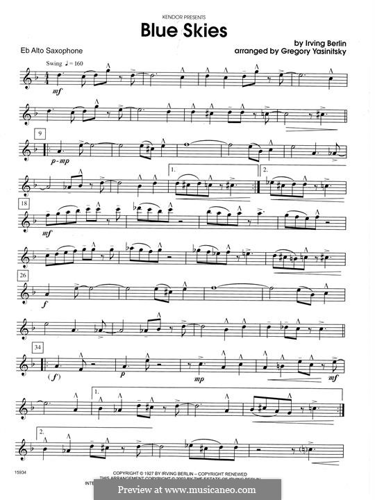 Blue Skies: For saxophones – Eb Alto Saxophone part by Irving Berlin