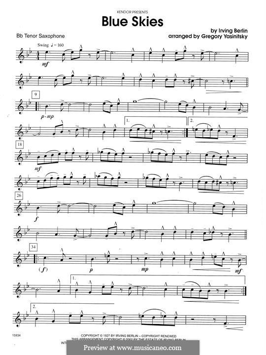 Blue Skies: For saxophones – Bb Tenor Saxophone part by Irving Berlin