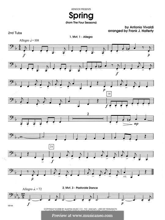 Violin Concerto No.1 in E Major 'La primavera' (Printable Scores): Movement 1 Allegro, for wind quartet – Tuba 2 part by Antonio Vivaldi