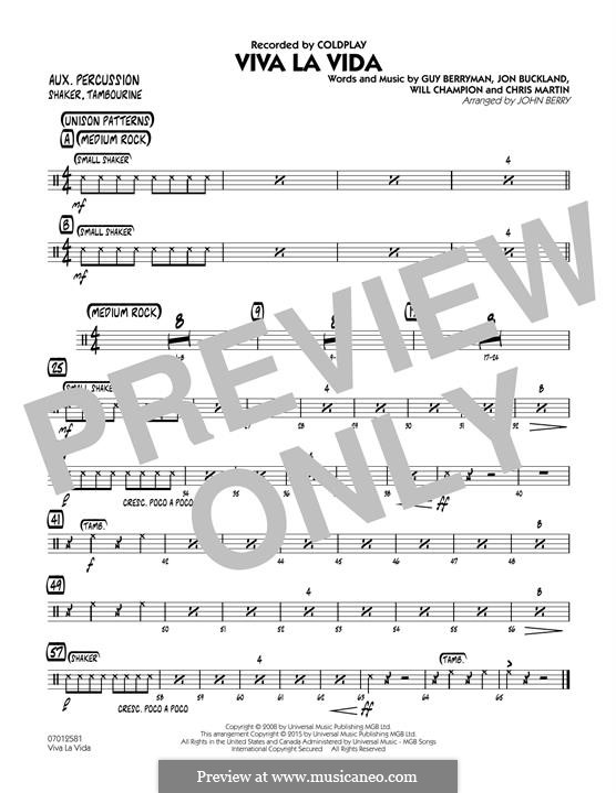 Jazz Ensemble version by John Berry: Flute part by Chris Martin, Guy Berryman, Jonny Buckland, Will Champion