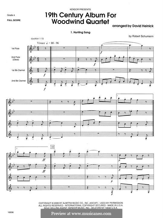 19th Century Album for Woodwind Quartet: Full score by Robert Schumann