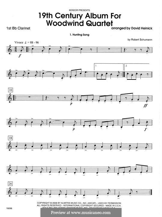19th Century Album for Woodwind Quartet: 1st Bb Clarinet part by Robert Schumann