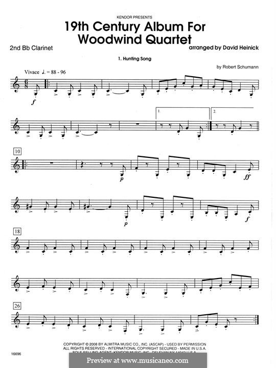 19th Century Album for Woodwind Quartet: 2nd Bb Clarinet part by Robert Schumann
