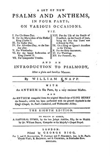 A Set of New Psalm and Anthems: A Set of New Psalm and Anthems by William Knapp