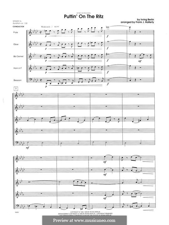 Puttin' on the Ritz: For wind quintet – full score by Irving Berlin