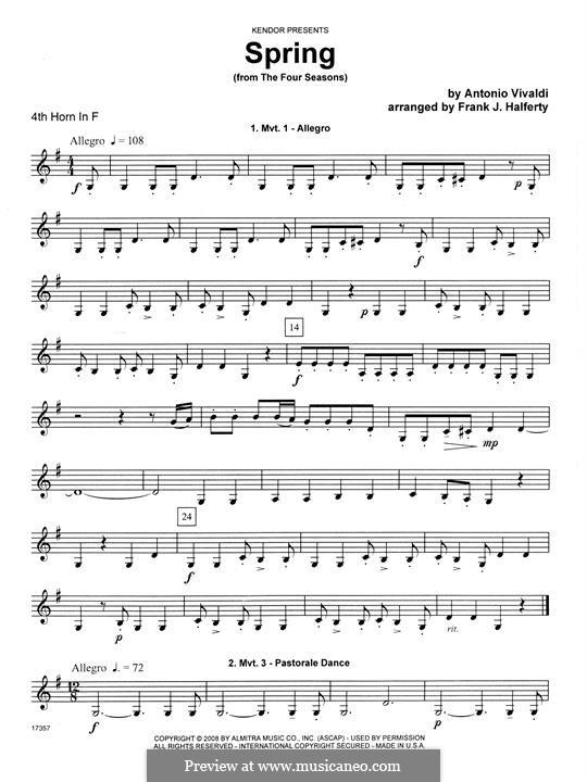 Violin Concerto No.1 in E Major 'La primavera' (Printable Scores): Movement 1 Allegro, for horn quartet – 4th Horn in F part by Antonio Vivaldi