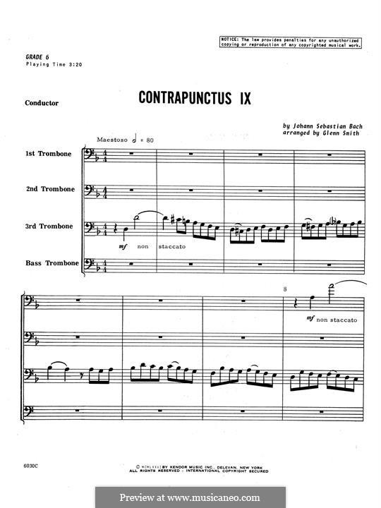 No.1-10: No.9, for four trombones - full score by Johann Sebastian Bach