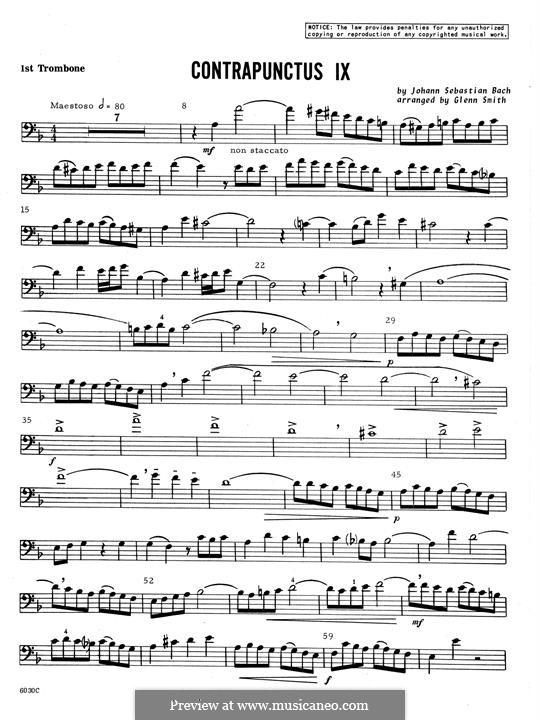 No.1-10: No.9, for four trombones - 1st Trombone part by Johann Sebastian Bach