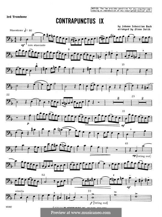 No.1-10: No.9, for four trombones - 3rd Trombone part by Johann Sebastian Bach