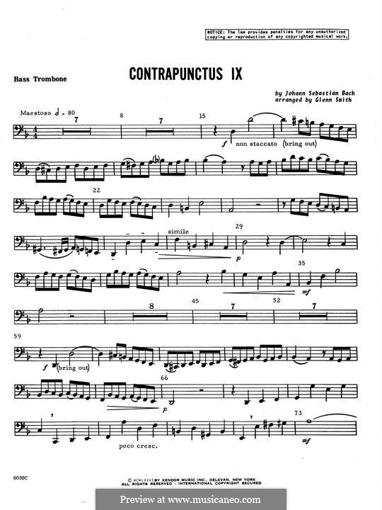 No.1-10: No.9, for four trombones - Bass Trombone part by Johann Sebastian Bach