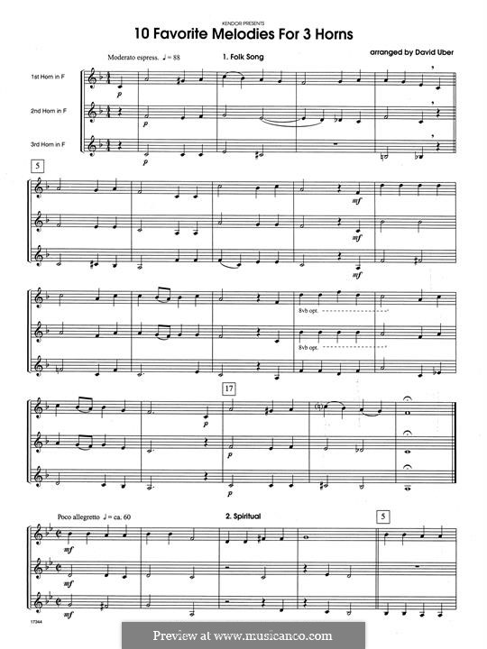 10 Favorite Melodies for 3 Horns: Full Score by folklore