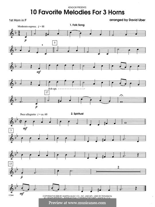 10 Favorite Melodies for 3 Horns: 1st Horn in F part by folklore