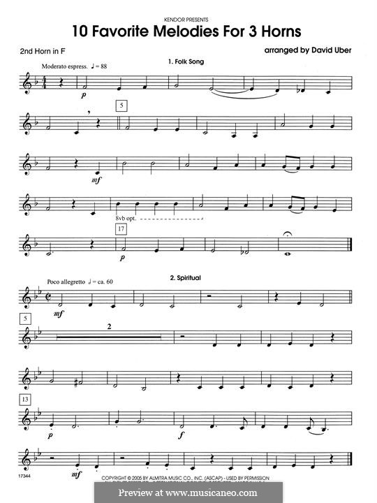 10 Favorite Melodies for 3 Horns: 2nd Horn in F part by folklore