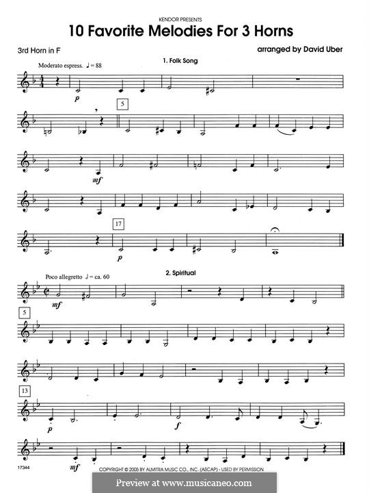 10 Favorite Melodies for 3 Horns: 3rd Horn in F part by folklore