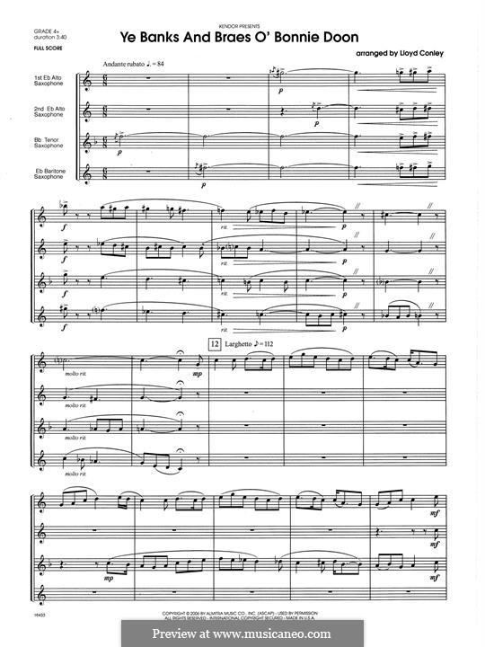 Ye Banks and Braes: For quartet saxophones – full score by folklore