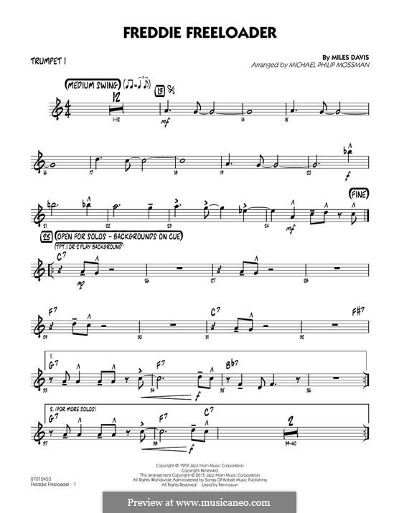 Freddie Freeloader: Trumpet 1 part by Miles Davis