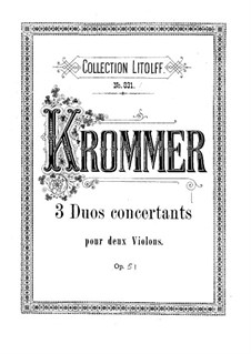 Three Duos for Two Violins, Op.51: Parts by Franz Krommer