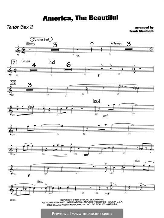 America the Beautiful: For orchestra - 2nd Bb Tenor Saxophone part by Samuel Augustus Ward