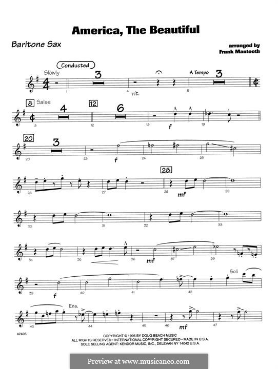 America the Beautiful: For orchestra - Eb Baritone Saxophone part by Samuel Augustus Ward