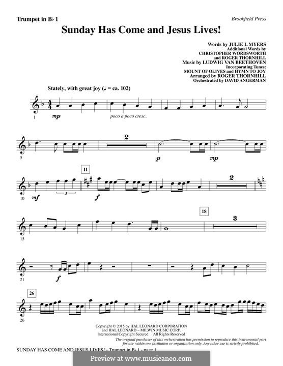 Sunday Has Come and Jesus Lives!: Bb Trumpet 1 part by Ludwig van Beethoven