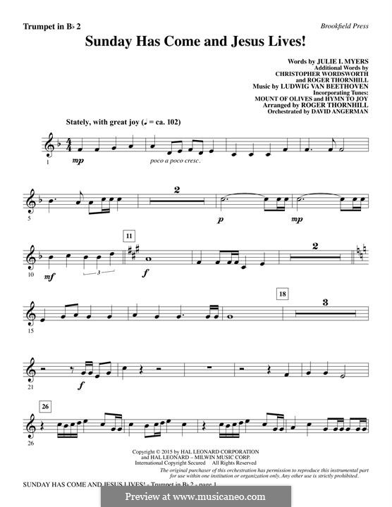 Sunday Has Come and Jesus Lives!: Bb Trumpet 2 part by Ludwig van Beethoven