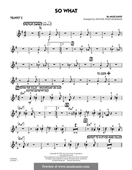 So What: Trumpet 2 part by Miles Davis