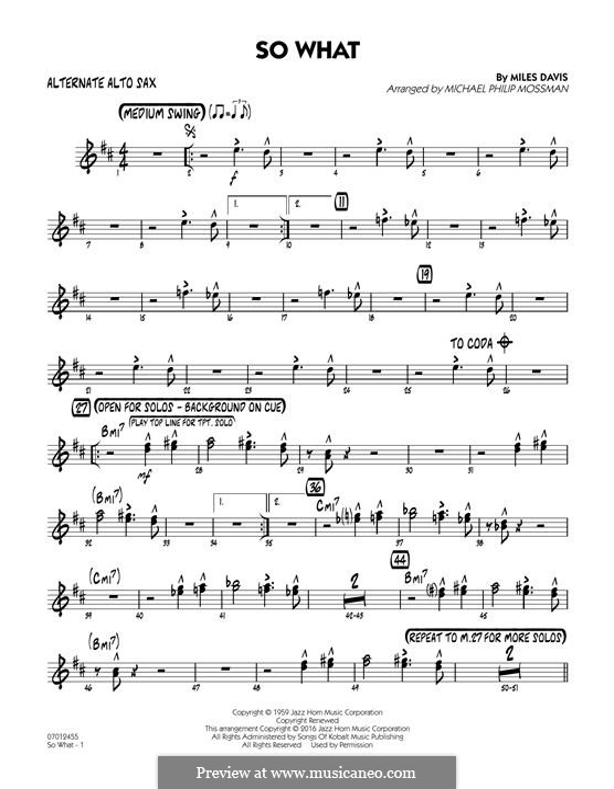 So What: Alternate Alto Sax part by Miles Davis