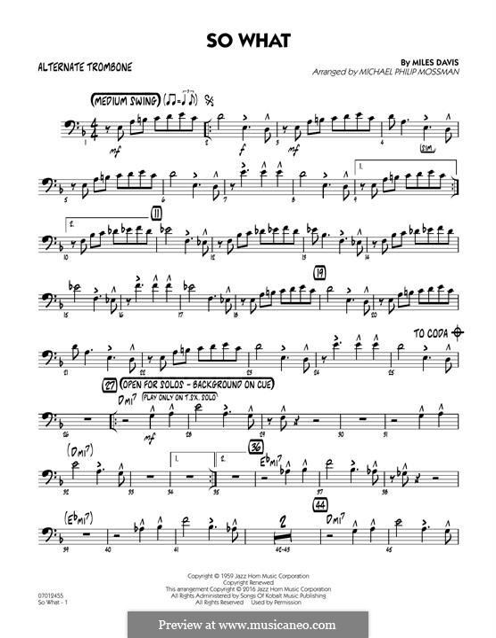 So What: Alternate Trombone part by Miles Davis