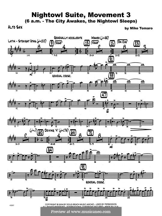 Nightowl Suite, Mvt.3: Eb Alto Saxophone part by Mike Tomaro