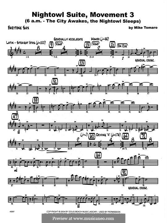 Nightowl Suite, Mvt.3: Eb Baritone Saxophone part by Mike Tomaro