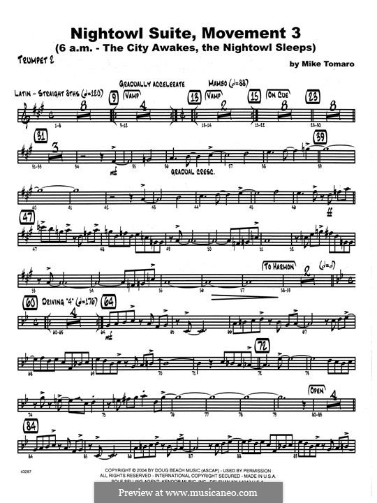 Nightowl Suite, Mvt.3: 2nd Bb Trumpet part by Mike Tomaro